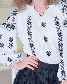 This hand embroidered traditional blouse is decorated with geometrical and floral patterns, representing the Queen of the Night, a delicate and perfumed flower. Palestinian Embroidery, Hungarian Embroidery, Folk Embroidery, Embroidery Dress, Embroidery Patterns, Cross Stitch Cushion, Embroidered Clothes, Handmade Clothes, Dressmaking