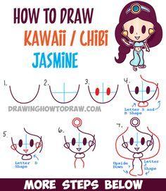 How to Draw Cute Baby Kawaii Chibi Jasmine from Disney's Aladdin in Easy Steps