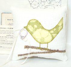 Wedding Ring Bearer Pillow Love Bird Modern by vintagegreenlimited