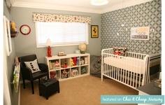 Patterned wallpaper nursery feature!