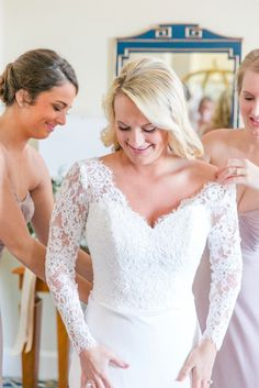 Custom Gown with Lace Sleeves from Modern Trousseau | Romantic Fall Wedding at Middleton Place by Charleston wedding photographer Dana Cubbage