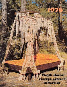 Vintage Macrame Pattern Hippie Bohemian Bedroom Bed Canopy Instant Download PDF majikhorsefabrics