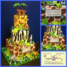 Jungle Birthday Cake - twins | Flickr - Photo Sharing!