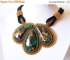 15% SALE Statement Beadwork Bead Embroidery Pendant от lutita