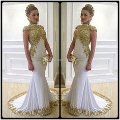 dcc3a5af16208 Luxury Long Mermaid Plus Size Evening Dresses With Gold Lace Appliques High  Neckline Cap Sleeves Women Formal Dress Gowns