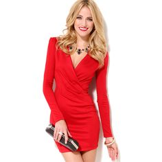 This mini #dress is of #sexy deep v-neck design, which can perfectly show your curves. The red one will make you more eye-catching on the party, do you heart it? Come and have a try!  http://www.tomtop.cc/YBbimq