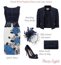 Modern Mother of the Bride Mother of the Groom outfit for autumn Phase Eight Gretel blue floral shift dress and navy lace jacket
