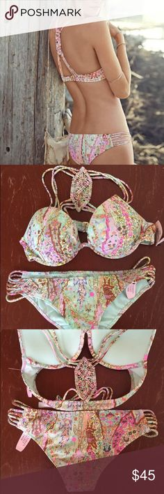 Victoria's Secret 34B Bikini This is a never worn, new with tags Victoria's Secret multi-colored bikini set. Top is The Fabulous, size 34B with molded push-up padding. There is an intricately woven design for the center of the back. Bottom is a super cute size small with similar pattern work on each side. The Victoria's Secret bikini line ended Summer 2016 so get yours while you can!! Offers are always welcomed 💖💝 Victoria's Secret Swim Bikinis