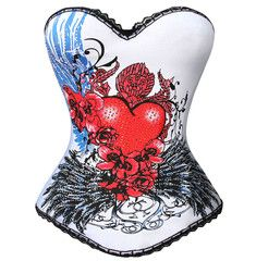 Fun and funky tattoo inspired bustier with under wire cups and a sweet heart neckline. Pops of rhinestones add a perfect amount of bling to this sexy bustier. Pin Up Outfits, Crop Top Outfits, Sexy Corset, Overbust Corset, Red Queen Costume, Halloween Corset, Burlesque Dress, Corsets Online, Hip Tattoos Women
