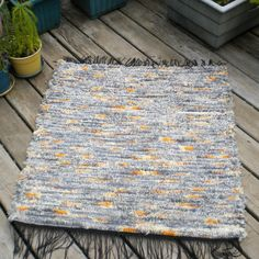 Woven Pendleton Wool Selvage Rug Gray & Yellow  Multi 33x36. $50.00, via Etsy.