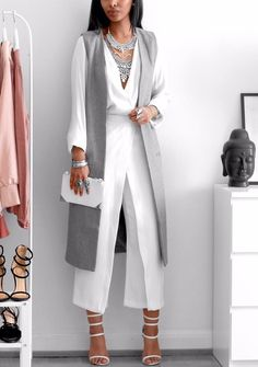 White + Grey Blouse - @hm | Long Vest - @missguided | Pants (old) - @zara | Heels - @simmishoes | Fashion Look by femmeblk