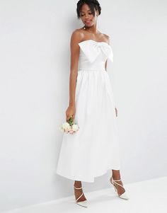 ASOS | ASOS Bridal Jumpsuit in Bonded Satin with Bow Detail