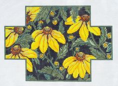 Whimsy Grace Handpainted Yellow Flower Brick Cover Elegant Needlepoint Canvas | eBay