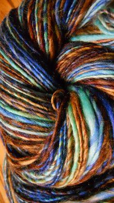 Superwash Merino Handspun Yarn Blue, Brown & White 225 yards by ArachnesThreads