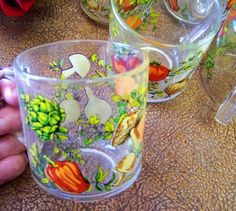 Five Vintage Retro Spice of Life Glass Cups by tithriftstore