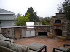 Classy Design Outdoor Kitchen Ideas With Stone Kitchen Island And Built In Grills Also Storage Pantry And Outdoor Fireplace Also Dashes Pattern Oudoor Chaise Lounge With Built In Bbq Grills  And Bbq Islands, Baffling Design Ideas Of Outdoor Kitchen Islands: Furniture