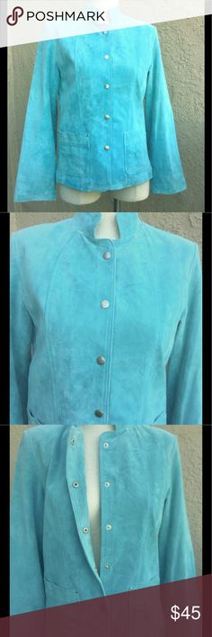 """DAVID BROOKS S JACKET SOFT PIG SUEDE FULLY LINED This very good condition size S/P David Brooks jacket has 2 front pockets, incredibly soft pig suede, and is fully lined with 100% acetate. It measures 15.5"""" across the shoulders, 18.5"""" across the bust, 17"""" across the waist, 19"""" across the bottom, and is 23"""" long.  The sleeves are 23"""" from the shoulders and 18"""" from under the arm. Jackets & Coats Blazers"""