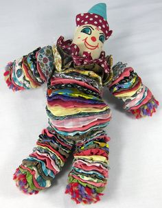 "YO YO DOLL Vintage Fabric Quilt Clown Painted Cloth Face Yarn Pom Poms 15"""