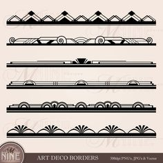 ART DECO BORDER Clip Art: Art Deco Borders Design Elements Digital Clipart, Instant Download, Vintage Antique Black Silhouette