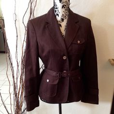 Alyn Paige blazer Rich chocolate brown linen/cotton blend blazer. Belted with tab pockets. Originally part of a 2 piece set but only have the blazer. Alyn Paige Jackets & Coats Blazers