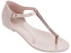 Melissa Women's Honey Chrome Sandal In Pink Rose Gold Sandals, Pretty Sandals, Cute Sandals, Pretty Shoes, Cute Shoes, Shoes Sandals, T Strap Shoes, T Strap Sandals, Coral Sandals