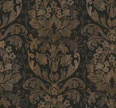 Interior Place - Black Tan DC1327 Stria Damask Wallpaper, $29.89 (http://www.interiorplace.com/black-tan-dc1327-stria-damask-wallpaper/)