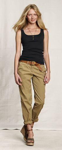 Tan rolled cargo pants, blank tank, brown belt, brown wedges or sandals