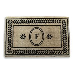 Leaf Border Coco Fibre Entry Mat Monogrammed (22x36 inches) (Monogrammed F), Black (Coir)