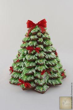 Купить Новогодняя пряничная ёлка большая - Новый Год, новогодняя елка, пряничная елка