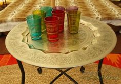 Perfect hammered metal table for the bell tent