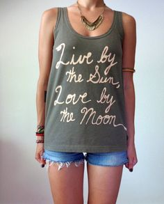 Live by the Sun, Love by the Moon, Upcycled Green Sun Moon Tank by TheVelvetMoon on Etsy, $35.00