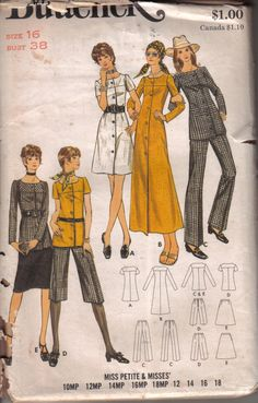 Vintage Butterick Misses Dress Top Pants Skirt Factory Folded Tissue Pattern…