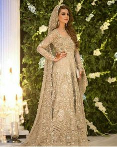 This beautiful anarkali is meticulously highlighted with silver, kora, dabka, tilla, sequins and swarovsky. Asian Bridal Dresses, Pakistani Wedding Outfits, Indian Bridal Outfits, Pakistani Bridal Dresses, Pakistani Wedding Dresses, Indian Dresses, Pakistani Clothing, Wedding Hijab, Pakistani Bridal Couture