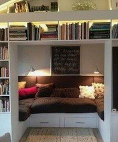 Dream nook OR add doors to enclose the space for use as a guest bed office kid s play room or even a secret room just make the doors into swinging book shelves Wall Bookshelves, Creative Bookshelves, Book Shelves, Home Office Design, Library Design, Build Your Dream Home, Book Nooks, Basement Remodeling, Very Well