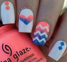 pretty nails really like the one with the zig zag and the hearts really pretty to