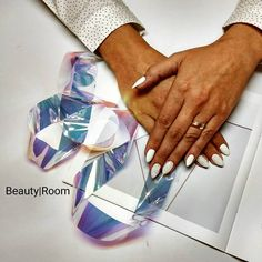 White nails with pixel #nails2017 #whitenails #inspiration #weddingnails