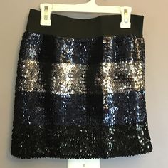 Black and blue sequenced mini skirt Black and blue sequenced mini skirt, elastic waist - size small Forever 21 Skirts Mini