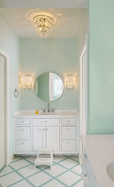 - Bathroom paint color: Mint green bathroom boasts mint green walls framing Global Views Fortune Tell - Luxury Interior Design, Bathroom Interior Design, Interior Paint, Mint Green Bathrooms, Mint Bathroom, Colorful Bathroom, Chevron Bathroom, Mint Rooms, Bathroom Small