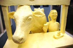 Cow and child with glass of milk - Butter Sculpture