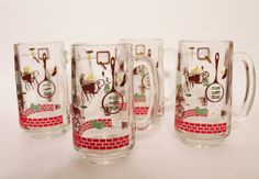 Set 4 Retro 1950s BBQ picnic glass root beer mugs by WunderFun, $15.00