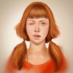 Portrait art of ginger girl tongue in cheek Portrait Art, Portraits, Girl Tongue, Ginger Girls, Portrait Paintings, Portrait, Portrait Photography