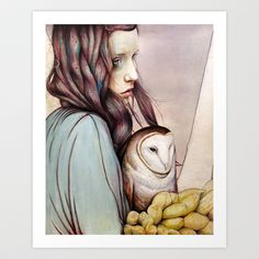 The Girl and the Owl Art Print by Michael Shapcott