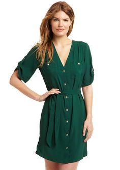 Cute Baylor green dress with gold buttons!