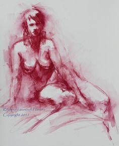 Watercolor Life Drawing of Nude in Dark Red Original by Krystyna81
