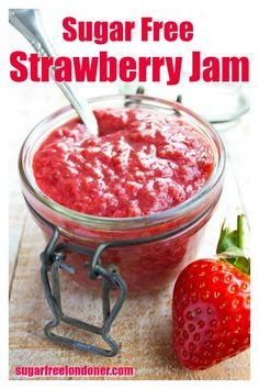 Ditch the added sugar and make your own healthy homemade sugar free strawberry jam! This simple super fruity jam is suitable for low carb and Keto diets. No pectin needed. Breakfast is sorted! Sugar Free Desserts, Sugar Free Recipes, Low Carb Recipes, Sugar Free Meals, Diabetic Recipes, Keto Foods, Keto Meal, Strawberry Freezer Jam, Low Sugar Strawberry Jam Recipe