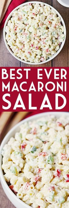 Best Ever Macaroni Salad -- Who knew macaroni salad could be incredibly easy AND incredibly delicious? This macaroni salad is just that with the perfect blend of veggies and creamy dressing with a surprise ingredient! | halfscratched.com