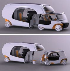 Modular Motorhome – Hybrid Camper Car Plus Caravan Combo.  The tiny two-seat car part is definitely built for short trips, looking like a cross between a golf cart and a Mini Cooper.