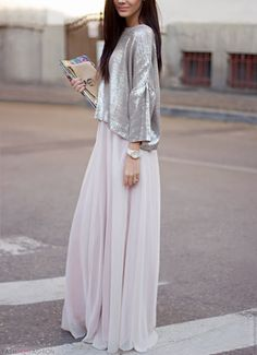 Pretty in silver metallic sweater & chiffon maxi skirt #StreetStyle