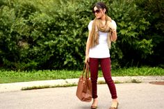 maroon Pants-white top-camel scarf