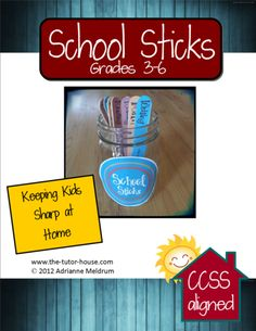 Provide more choice for students with School Sticks Grades 3-6 from The Tutor House.  School Sticks make awesome early finisher activities or fantastic for tutoring practice.  They are on sale today through Monday at 30% off! $ Use promo code: SUPER.
